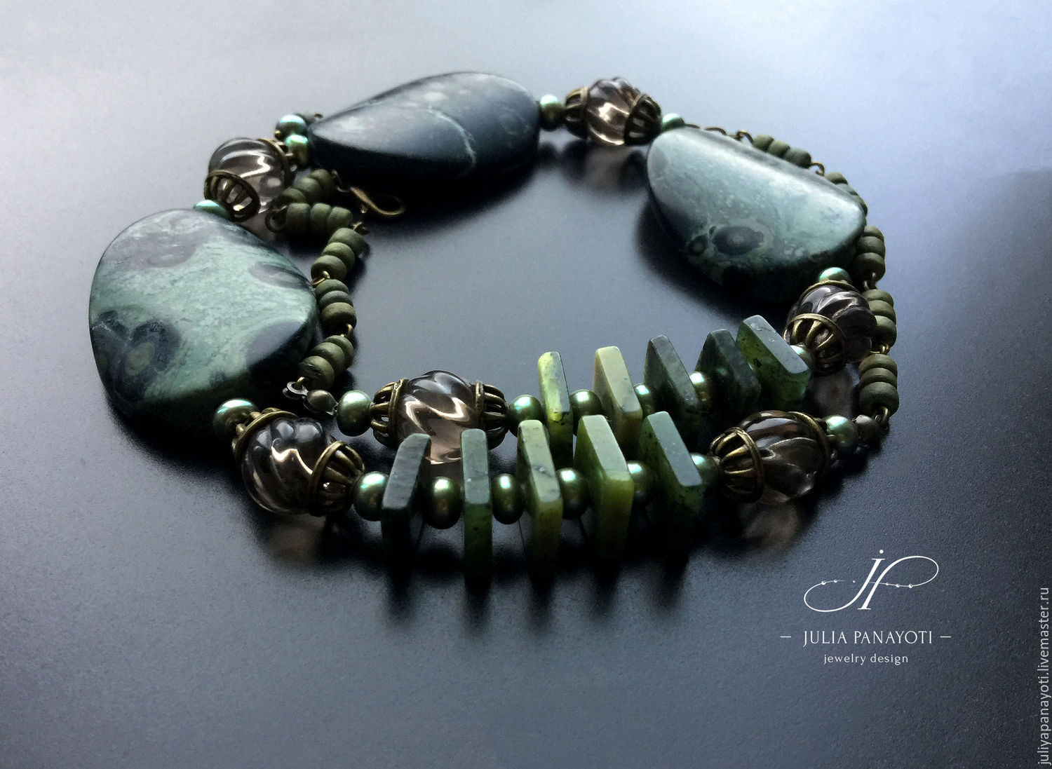 Necklace 'Daphne' from jade, jade, Topaz and pearls, Necklace, Murmansk,  Фото №1