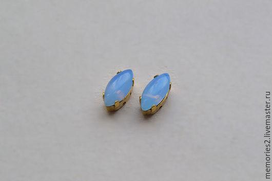 Для украшений ручной работы. Ярмарка Мастеров - ручная работа. Купить Винтажные стразы 10х5мм. цвет Blue Opal. Handmade.