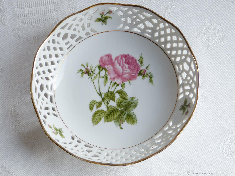 """Винтаж: 1970-1980гг. Ажурная конфетница  """"Розовая роза"""", Form Marienbad, Винтажная посуда, Бохольт, Фото №1"""