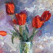 Картины и панно handmade. Livemaster - original item Red tulips. oil on canvas, 35*50 cm. Handmade.