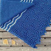 Shawls handmade. Livemaster - original item Knitted shawl-blue with zigzags made of wool. Handmade.