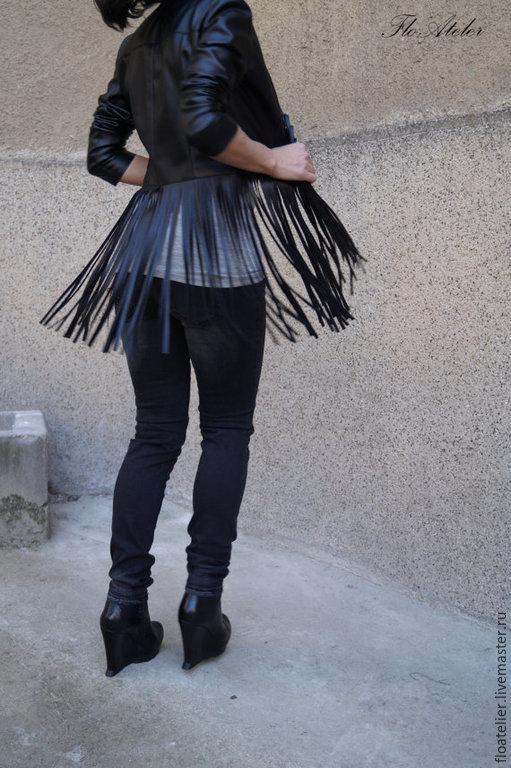 Верхняя одежда ручной работы. Ярмарка Мастеров - ручная работа. Купить Черная куртка из натуральной кожи с бахромой /F1486. Handmade.
