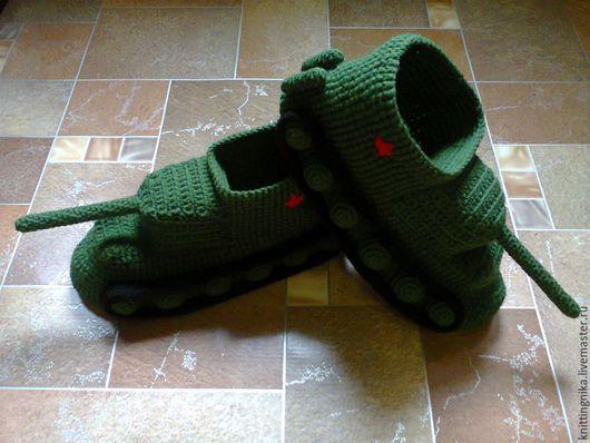 Обувь ручной работы. Ярмарка Мастеров - ручная работа. Купить Тапки-танки. Handmade. Тапочки, тапочки вязаные, танки