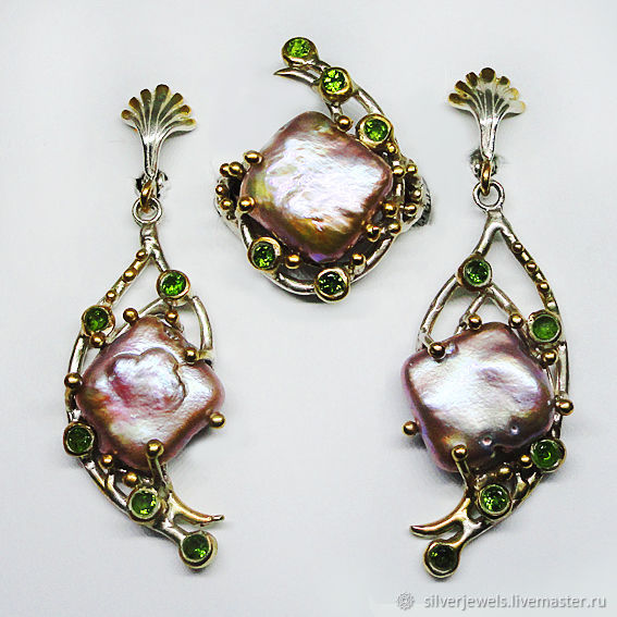 Set 925 silver with purple Baroque pearls and chrome diopsids, Jewelry Sets, Moscow,  Фото №1
