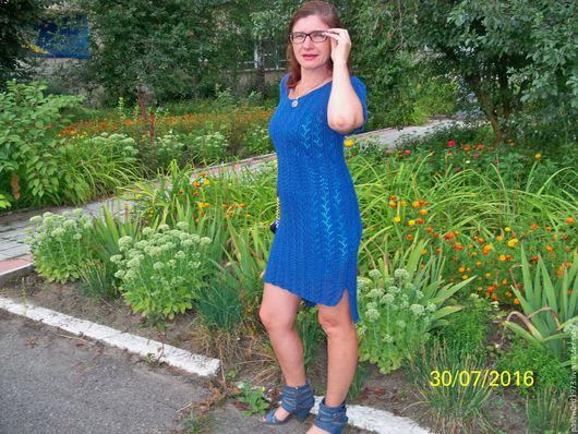 """Платья ручной работы. Ярмарка Мастеров - ручная работа. Купить Платье """"Джинс"""". Handmade. Синий, вязаное платье"""