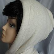 Аксессуары ручной работы. Ярмарка Мастеров - ручная работа Капюшон шарф капор двухслойный  белый  женский меринос с кашемиром. Handmade.