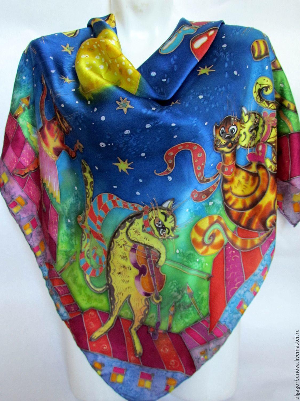 Batik scarf 'Funny cats' gotoposition, Shawls1, Yaroslavl,  Фото №1