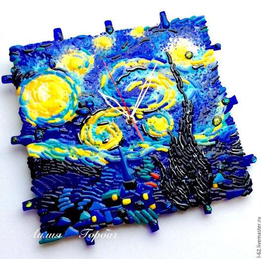 Часы для дома ручной работы. Ярмарка Мастеров - ручная работа. Купить часы из стекла, фьюзинг  Почти Звёздная ночь....Ван  Гог. Handmade.
