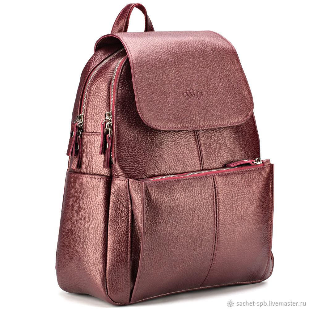Leather backpack 'Daphne' (Burgundy metallic), Backpacks, St. Petersburg,  Фото №1