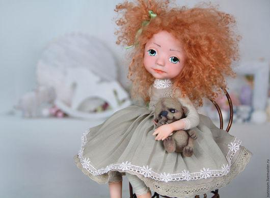 """Коллекционные куклы ручной работы. Ярмарка Мастеров - ручная работа. Купить Коллекционная кукла """"Юна"""". Handmade. Хаки, тедди, ЛивингДолл"""