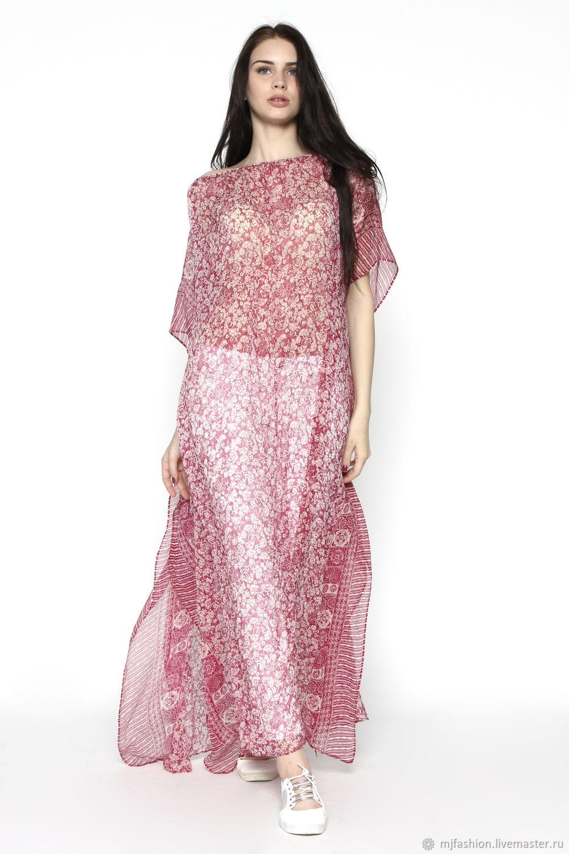 Silk tunic dress in small flower 'Bordeaux' (art. 2472), Tunics, Omsk, Фото №1