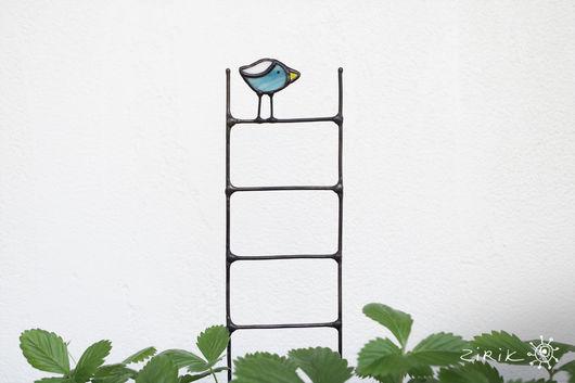 Украшения для цветов ручной работы. Ярмарка Мастеров - ручная работа. Купить Лестница. Украшение в цветочный горшок. Handmade. Голубой, птица