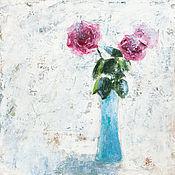 Картины и панно ручной работы. Ярмарка Мастеров - ручная работа Розы в голубой вазе. Handmade.
