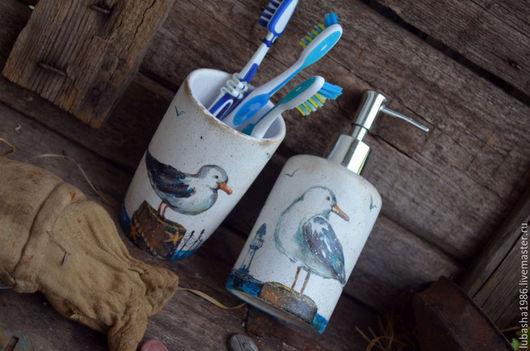 """Ванная комната ручной работы. Ярмарка Мастеров - ручная работа. Купить Набор для ванной """"Чайка""""в морском стиле, ручная роспись. Handmade."""