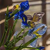 Для дома и интерьера ручной работы. Ярмарка Мастеров - ручная работа Букет Ирисов из цветного стекла. Handmade.