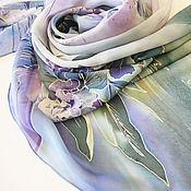 Аксессуары ручной работы. Ярмарка Мастеров - ручная работа Новый шелковый палантин батик Гортензия. Handmade.
