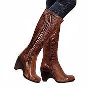 Винтаж handmade. Livemaster - original item 40-41 size! Insulated boots with gold decor from nature.skins. Handmade.
