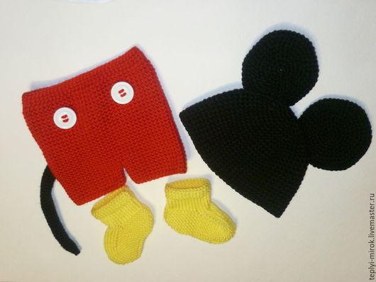"""Для новорожденных, ручной работы. Ярмарка Мастеров - ручная работа. Купить Костюм для фотосессии """"Микки"""". Handmade. Ярко-красный"""