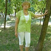 Одежда ручной работы. Ярмарка Мастеров - ручная работа Жилет крючком, ажурный, вязаный, оливкового цвета. Handmade.