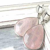 Украшения ручной работы. Ярмарка Мастеров - ручная работа Серьги розовый кварц серебро/крупные серьги/розовым кварцем. Handmade.