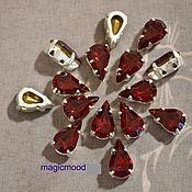 Материалы для творчества handmade. Livemaster - original item 1pcs Rhinestones teardrop 10h6 Czech Siam in DACs. Handmade.
