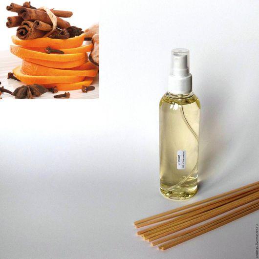 Ярмарка Мастеров - ручная работа. Купить Флакон с ароматической жидкостью Корица-Апельсин 200 мл на основе натуральных масел с ротанговыми палочками для ароматизатора-диффузора для дома. Handmade.