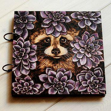 "Stationery handmade. Livemaster - original item Sketchbook wood cover 22x22sm ""Raccoon-2"". Handmade."