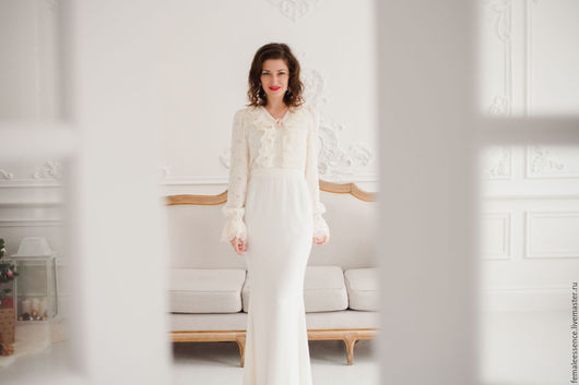 Одежда и аксессуары ручной работы. Ярмарка Мастеров - ручная работа. Купить Свадебное, подвенечное платье в винтажном стиле. Handmade. Белый