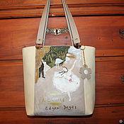 """handmade. Livemaster - original item Edgar Dega. Leather beige ivory bag """"Ballet star"""". Handmade."""