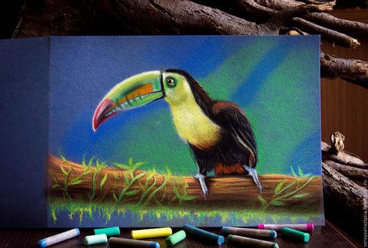 """Животные ручной работы. Ярмарка Мастеров - ручная работа. Купить Картина пастелью """"Тукан"""". Handmade. Комбинированный, птица на ветке, тукан"""