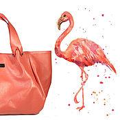 """Сумки и аксессуары ручной работы. Ярмарка Мастеров - ручная работа Сумка кожаная """"Фламинго"""", кожаная сумка, женская сумка. Handmade."""