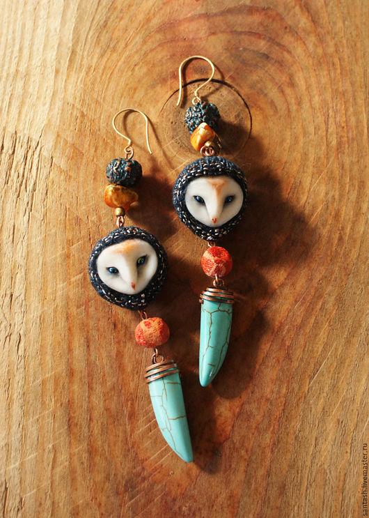 Серьги ручной работы. Ярмарка Мастеров - ручная работа. Купить Серьги совы синие. Handmade. Тёмно-бирюзовый, бохо, шёлк