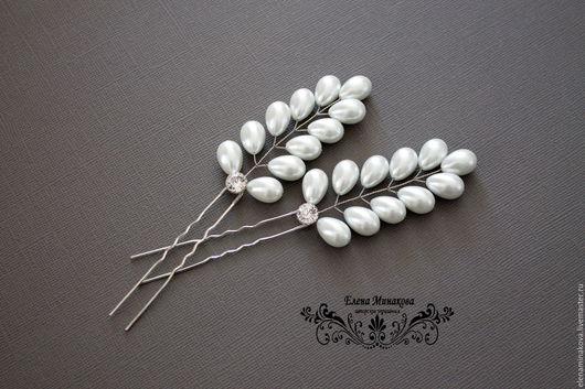 """Свадебные украшения ручной работы. Ярмарка Мастеров - ручная работа. Купить Шпильки для волос """"Dew"""". Handmade. Белый, украшения для невесты"""