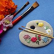 Украшения ручной работы. Ярмарка Мастеров - ручная работа Палитра...Брошь с вышивкой. Handmade.