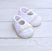 Работы для детей, handmade. Livemaster - original item Booties for girls to be discharged or baptism. Handmade.