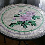 """Для дома и интерьера ручной работы. Ярмарка Мастеров - ручная работа """"Пионы"""" дачный стол с мозаикой. Handmade."""