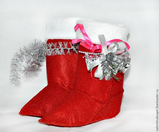 Подарочная упаковка ручной работы. Ярмарка Мастеров - ручная работа. Купить Сапожки для подарков.. Handmade. Ярко-красный