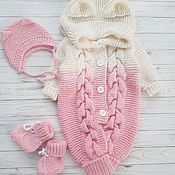 Работы для детей, handmade. Livemaster - original item Knitted jumpsuit for baby, set on discharge for girls. Handmade.