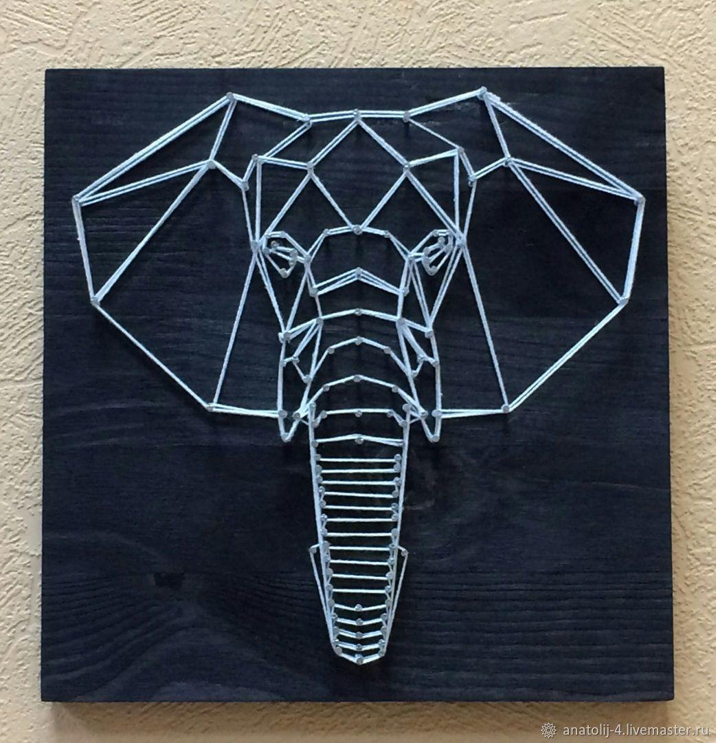 Картина в стиле стринг-арт геометрические животные