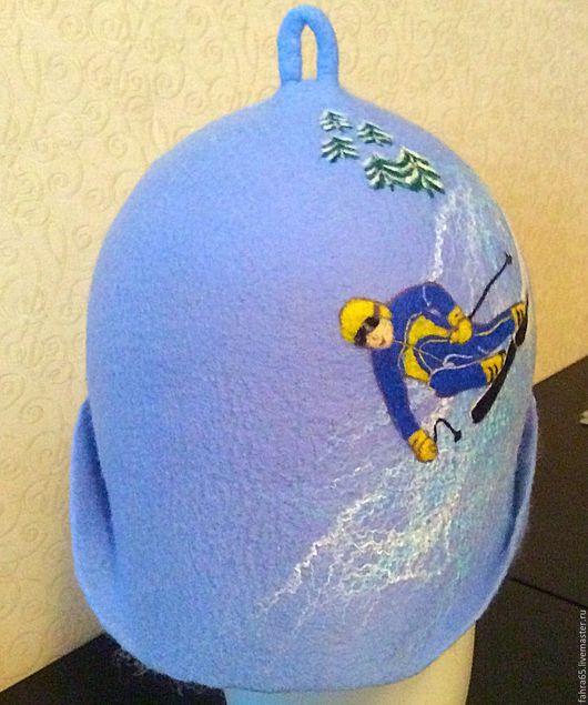 """Банные принадлежности ручной работы. Ярмарка Мастеров - ручная работа. Купить Шапка банная """"Горнолыжник-3"""". Handmade. Комбинированный"""