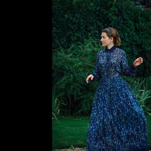 Платья ручной работы. Ярмарка Мастеров - ручная работа. Купить Ночной ливень - шелковое платье. Handmade. Тёмно-синий