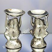 Винтаж ручной работы. Ярмарка Мастеров - ручная работа Подсвечник ваза лягушка латунь серебрение 4. Handmade.