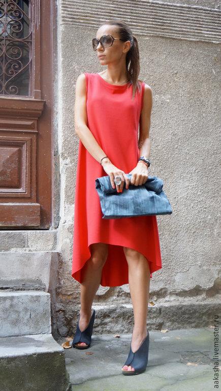 Платье красное платье нарядное платье вечернее платье красивое платье коралловое платье красный цвет яркое свободное платье дизайнерское платье на выход коктельное платье