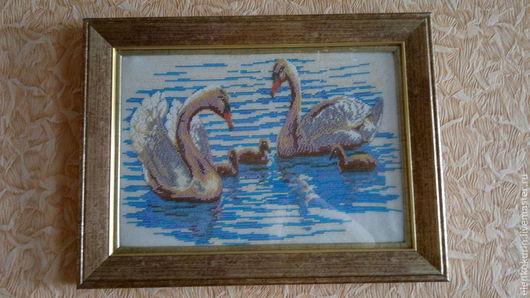 Животные ручной работы. Ярмарка Мастеров - ручная работа. Купить Картина «Лебеди» бисер. Handmade. Бирюзовый, картина, багетная рама