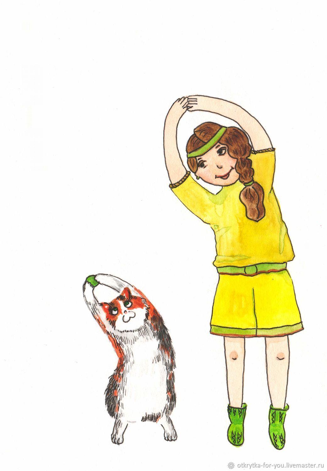 кошка- спортсменка, Открытки, Златоуст,  Фото №1