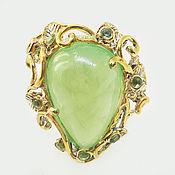 Украшения handmade. Livemaster - original item Ring made of 925 silver with natural prenite and chrysolites. Handmade.