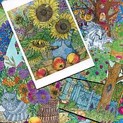Открытки handmade. Livemaster - original item Large set of greeting cards for postcrossing 34 pieces. Handmade.