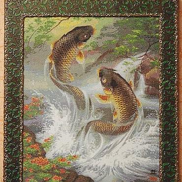 """Картины и панно ручной работы. Ярмарка Мастеров - ручная работа """" Прыгающие карпы""""Вышитая картина крестиком,картины и панно. Handmade."""