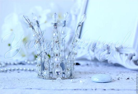 Диадемы, обручи ручной работы. Ярмарка Мастеров - ручная работа. Купить Белая корона. Серебряная корона для принцессы. Корона из кристаллов. Handmade.