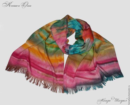 Осень в яркую полоску палантин ручное окрашивание батик хлопок купить Шалунья Петербург  scarf handmade russia